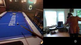 Sam plays virtual pool (and virtual darts) in a virtual bar (PoolNation VR)