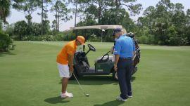 Pitch Shot Through A Golf Cart