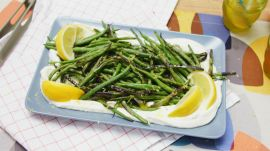 3-Ingredient Charred Green Beans with Whipped Ricotta