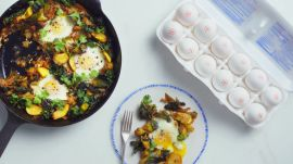 Kimchi and Squash Baked Eggs
