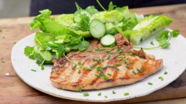 Soy Basted Thin Cut Pork Chops With Tiger Salad