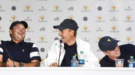 Jordan Spieth & Dustin Johnson sing during Team USA's lively press conference
