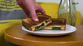 Healthy Spinach, White Bean, and Parmesan Grilled Cheese