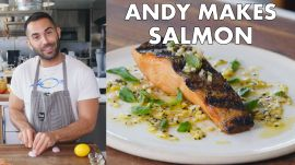 Andy Makes Grilled Salmon with Lemon Sauce