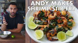 Andy Makes Shrimp and Basil Stir Fry