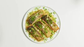 Quick Pan-Roasted Salmon with Miso-Honey Sauce