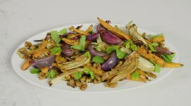 Roasted Carrots and Red Onions with Pecans, Fennel and Mint