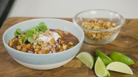 Leftover Turkey Chili Topped with Chili-Toasted Pecans