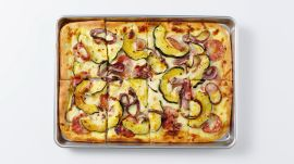 Creamy White Pizza with Squash and Sopressata