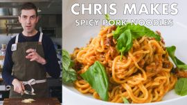 Chris Makes Spicy-Sweet Sambal Pork Noodles