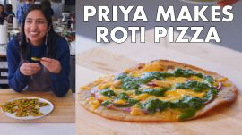 Priya Makes Roti Pizza with Cilantro Chutney