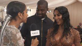 Kim Kardashian West and Kanye West on Kim's Ocean-Soaked Met Look