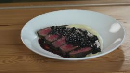 Filet Mignon with Blueberry Sauce & Pomme Puree