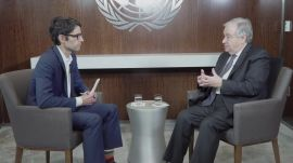 UN Secretary-General António Guterres speaks with WIRED's Nicholas Thompson