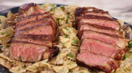 Seared Strip Steaks with Mushroom Farfalle