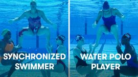 Water Polo Players Try To Keep Up With Synchronized Swimmers