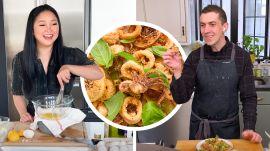 Lana Condor and Chris Make Fried Calamari