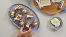2-Way Crostini with Peaches & Steak