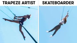 Skateboarders Try to Keep Up With Trapeze Artists