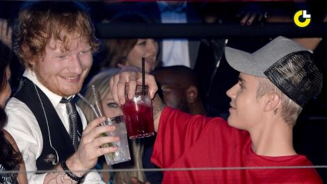 Justin Bieber & Ed Sheeran's failed trick shot