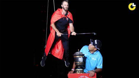 Dustin Johnson participates in golf's strangest tradition
