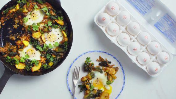 Kimchi and Squash Baked Eggs