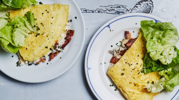 Omelet With Bacon, Mushrooms, and Ricotta