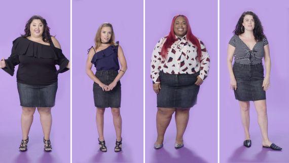Women Sizes 0 to 26 Try On the Same Mini Skirt