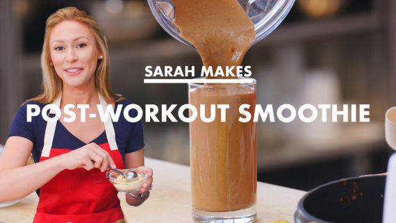 Sarah Makes A Post-Workout Smoothie