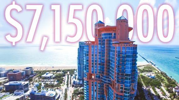 Inside a $7.1M Miami Beach 2-Story Penthouse