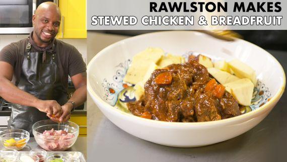 Rawlston Makes Stewed Chicken and Breadfruit