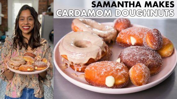 Samantha Makes Cardamom Cream & Maple-Glazed Doughnuts