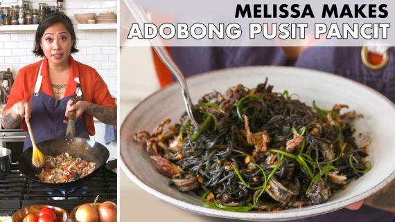 Melissa Makes Adobong Pusit Pancit (Adobo Squid Noodles)
