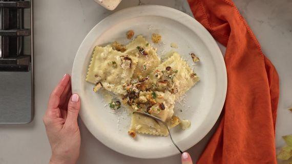 Butternut Squash Ravioli with Shamrock Farms Eggnog and Hazelnut Picada