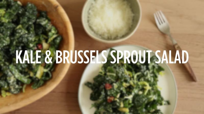 Watch How To Make Kale Amp Brussels Sprout Salad Epicurious Video Cne