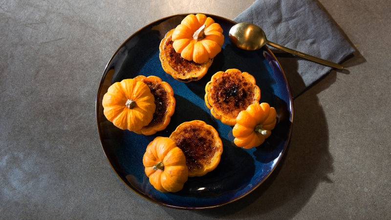 Watch Kitchen Lab Pumpkin Creme Brulee In A Pumpkin Bon Appetit