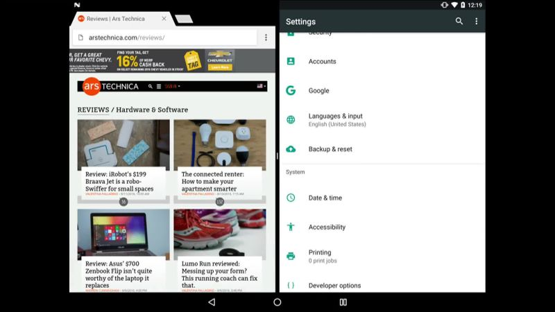 Multitasking in Android 7 0 Nougat on a Nexus 9 tablet