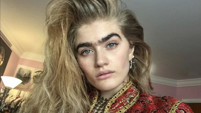 watch this model is making the unibrow movement happen